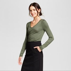 Tops - Olive Green Basic T